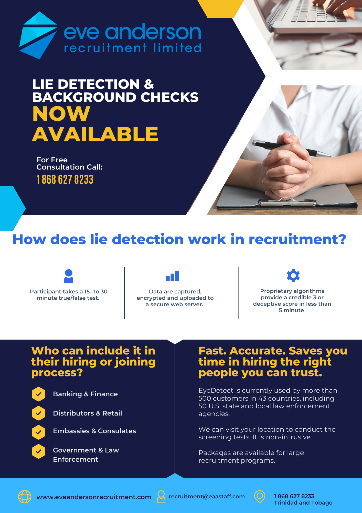 Eve Anderson Recruitment launches Lie Detection non-intrusive screening tests